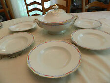 Hutschenreuther Konig & Co. China 1814-1914 Soup Tureen & (6) Soup Bowls  (4-5)