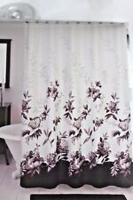 New Lenox MOONLIT GARDEN Fabric Shower Curtain Linen Like Gray Black Floral