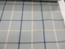 Ocean Blue & White Checked, Plaid Heavy Upholstery Fabric. By NEXT
