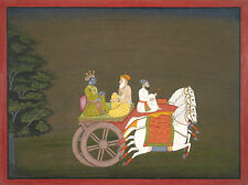 India Rajput Painting Reproduction: Krishna Rides a Chariot - Fine Art Print