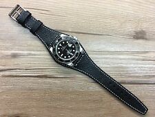 Real Leather Cuff Watch Strap, leather cuff watch band for Rolex or 20mm lug