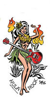 SEXY ISLAND GUITAR HULA Vintage SURF PINUP GIRL STICKER/ DECAL By Mitch OConnell