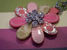 Coach Jeweled Leather Flower Purse Charm/Key Fob 92549 NWT *RARE*