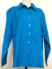 NEW NWT Dialogue by QVC Teal Blue Button-Down Linen/Rayon L/S Big Shirt M