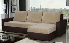 BRAND NEW CORNER SOFA BED CREAM/BROWN  WITH STORAGE KORFU
