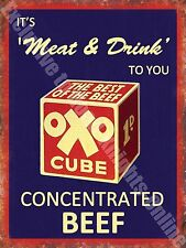 Oxo Cube Food & Drink Cooking Beef Old Butchers Shop Cafe Small Metal/Tin Sign