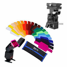 SE-CG20 FLash Color Gels Filter 20pc + Bracket B Shoe Umbrella Holder for Canon