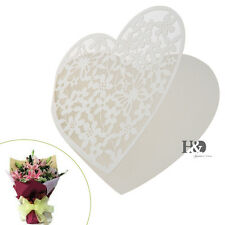 12pcs Ivory Heart Laser Cut Paper Place Cards Wedding Party Escort Gifts Cards