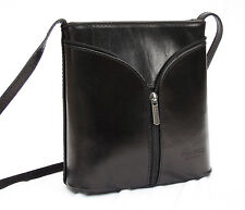 Made in Italy REAL LEATHER Cross Body Shoulderbag wonderful design black Satchel