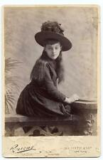 Cabinet Card Photo Stunning Beauty Light Skin Unusual Presence Big Hat 1880s