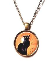 LE CHAT NOIR pendant necklace The Black Cat art deco noveau Cabaret Paris E1