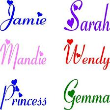 1 PERSONALISED GIRLS NAME WITH HEARTS - BEDROOM -  WALL -  VINYL STICKER DECALS