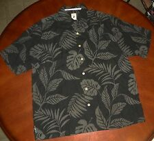 #1251- NEW JAMAICA JAXX Obsidian- Black Floral Hawaiian Shirt-sz Large