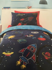SPACE ROCKET COSMOS DOUBLE bed QUILT DOONA COVER SET NEW