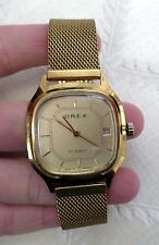 RARE Vintage Orex Wrist Watch 17 jewels rubis gold tone Date Made in Romania