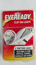 Clip On Light Bayonet Cap Bulb Holder,2 metres of cable,UK plug fitted, EVEREADY