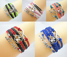 15pcs Cute Dog Charms Leather Braided European Bracelet (Mix 3 of each color)