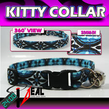 Breakaway SAFETY CAT Collar * Blue Browtile floral *