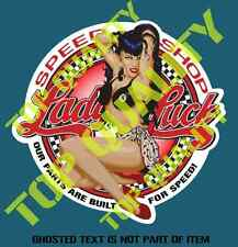 LADY LUCK HOT ROD Decal Sticker for Mancave Rat Hot Rod Americana Decal Stickers