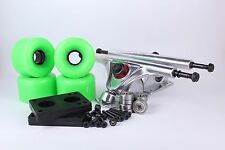 65mm 78a Neon Green Longboard Wheels and Silver Reverse Kingpin Truck Combo Set