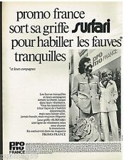 Publicité Advertising 1972 Pret à porter vetement Surfari Promo-France