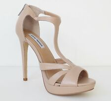 Steve Madden Wardiin Natural Tan Beige Platform High Heel T Strap Sandals Size 8
