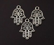 15 Tibetan Silver Hamsa Hand Filigree Charms Pendants Double Sided 21mm (TSC108)