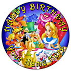 "ALICE IN WONDERLAND FUN PARTY - 7.5"" PERSONALISED ROUND EDIBLE ICING CAKE TOPPER"