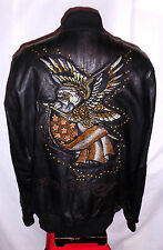 "* AVIREX & ED HARDY ""EAGLE & FLAG"" BLACK LEATHER Jacket**L**$900***99.9% NEWBIE!"