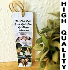 """Personalised Bookmark Plaque 8x2"""" with photos & text Friend Child Birthday Gift"""