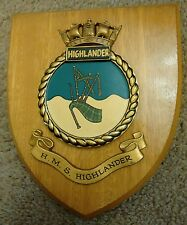 HMS HIGHLANDER ROYAL NAVY SHIP Vintage Oak Plaque Wall Shield Hand Painted