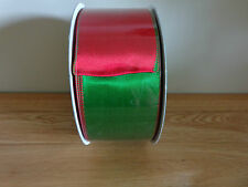 "5 Metres Kirkland Red/Green Reversible Wire Edged Xmas Ribbon 6.3cm/2.5 "" Wide."