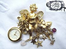 * KIRKS FOLLY USA * GUARDIAN ANGEL * GOLD FOB WATCH BROOCH in ORIGINAL BOX *