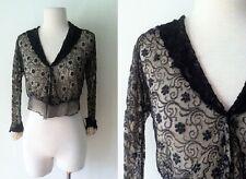 Antique Edwardian Blouse Black Shirt Waist Lace and Netting   Antique Black Lace