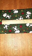 "Snoopy Peanuts Leaves Green Fall Cotton 44"" x 21"" Sewing Material Fabric"