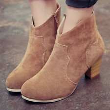 Winter Women Short Thick Scrub Ankle Boots High Heels  Martin Boots Shoes Lot