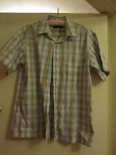 Loose Fit White Brown & Blue Check M&S Blue Harbour Shirt Size Medium Chest 46""