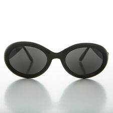 1990s Kurt Cobain Oval Grunge Cat Eye Vintage Sunglasses BLACK -MACY