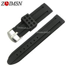 Black Waterproof Silicone Rubber Watch Bands Straps Stainless Steel Buckle 22mm