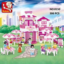 Sluban B0150 Pink Romantic Restaurant Minifigures Enlighten Building Blocks Toy