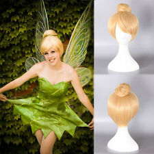 New Anime Tinker Bell Blonde Golden Womens Girl Hair Cosplay Party Gold Full Wig