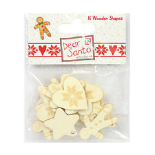 DEAR SANTA BY HELZ CUPPLEDITCH WOODEN SHAPES EMBELLISHMENTS FOR CARDS/CRAFTS