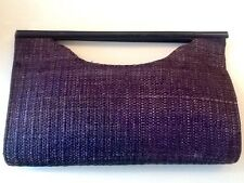 Vintage1970s Azul Marino raffia/cloth & Wood clutch/purse/handbag