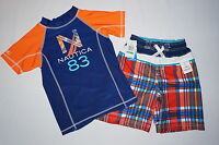NWT $54 NAUTICA  swimwear short with trunk 2pc set BOY size L 7 navy blue
