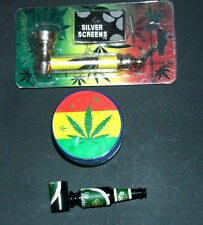Herb Leaf Tobacco Smoke Pipe With Screens & 3 Level Grinder + Free Bonus Pipe