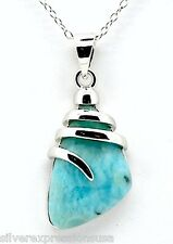 """Genuine AAA Dominican Larimar 925 Sterling Silver 18"""" Necklace with Pendant"""