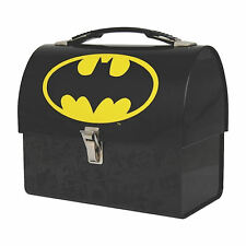BATMAN LOGO DOMED TIN TOTE LUNCH BOX RETRO CADDY DARK KNIGHT JUSTICE LEAGUE GIFT