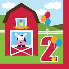 'Farmhouse Fun' Children's 2nd Birthday Party, Paper Lunch Napkins, Farm Animals