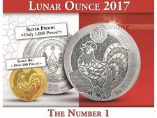 50 Francs Lunar Ounce Year of the Rooster Hahn Ruanda 1 oz Silber Silver 2017