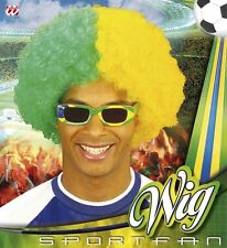 Mens Brazil Brazilian Afro Wig Football Blue & Yellow World Cup Tone Fancy Dres